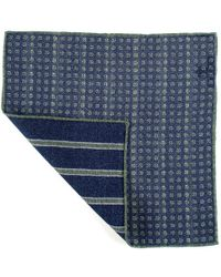 Black.co.uk - Blue And Green Reversible Wool Pocket Square - Lyst