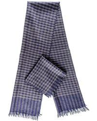 Black.co.uk - Navy And Grey Check Superfine Cashmere Cravat Scarf Set - Lyst