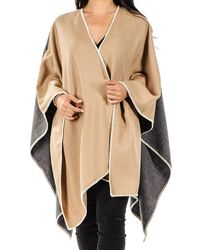 Black.co.uk Camel And Charcoal Grey Baby Alpaca Cape - Gray