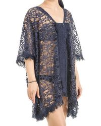 Black.co.uk - Navy Cotton Lace Kaftan Top - Lyst