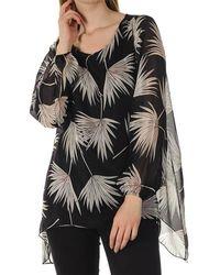 Black Alessia - Floral Print Silk Top - Black