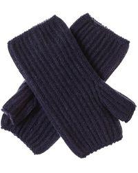 Black Navy Mid Length Cashmere Wrist Warmers - Blue