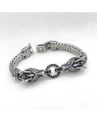 Blanc de Noir & Co. The Twin Naga Bracelet In Black Sapphire - Metallic