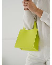 BAGGU Small Leather Retail Tote_chartreuse - Multicolor