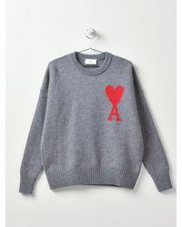 AMI Pull Ami Coeur_heather Grey/055 - Gray