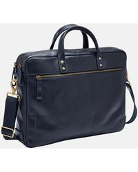 Fossil Haskell Double Zip Workbag Bag Navy - Blue