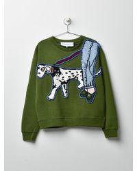Michaela Buerger Dog Walking Sweatshirt Olive Green