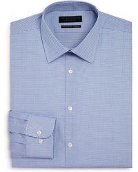 Bloomingdale's Shadow Grid Stretch Regular Fit Dress Shirt - Blue