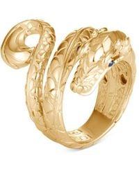 John Hardy - 18k Yellow Gold Legends Naga Serpent Ring With Blue Sapphire - Lyst