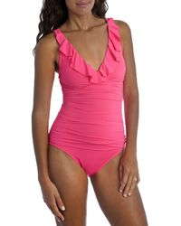 La Blanca Island Goddess Ruffled One Piece Swimsuit - Pink