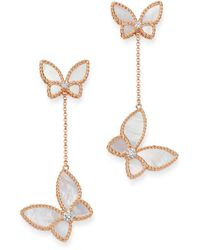 Roberto Coin 18k Rose Gold Mother - Of - Pearl & Diamond Butterfly Drop Earrings - Multicolour