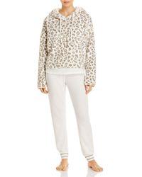 Aqua Leopard Print Hooded Pj Set - White
