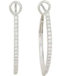 Frederic Sage - 18k White Gold Marquise Pavé Diamond Hoop Earrings - Lyst