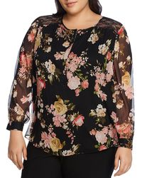 Vince Camuto Signature Beautiful Blooms Floral Top - Black