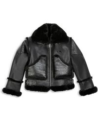 The Kooples Cropped Faux Leather Coat - Black