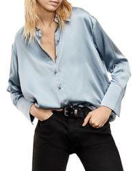 The Kooples Satin Button Front Shirt - Blue
