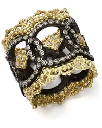 Armenta 18k Yellow Gold And Blackened Sterling Silver Old World Champagne Diamond Scalloped Ring - Metallic