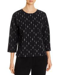Eileen Fisher Organic Cotton Printed Jewel Top - Black