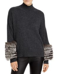 C By Bloomingdale's Fox Fur Cuff Cashmere Jumper - Multicolour