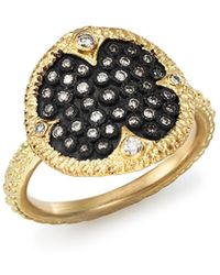 Armenta - Blackened Sterling Silver & 18k Yellow Gold Old World Pavé Champagne Diamond Disc Ring - Lyst
