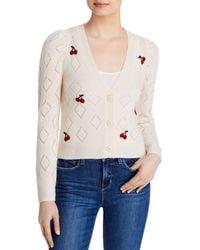 Aqua Cashmere Pointelle Cherry Jumper - White