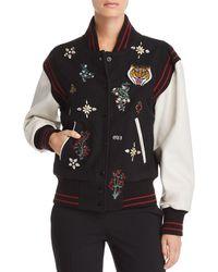 Joie Asuna Leather-sleeve Embellished Bomber Jacket - Black
