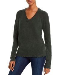 Minnie Rose - Distressed V - Neck Cashmere Sweater - Lyst