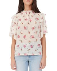 Maje Lunge Floral Print Ruffled Top - Pink