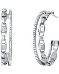 Michael Kors Mercer Link Double Row Sterling Silver Hoop Earrings - Metallic