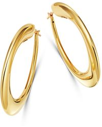 Roberto Coin - 18k Yellow Gold Chic & Shine Oval Hoop Earrings - Lyst