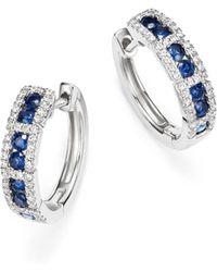 KC Designs | 14k White Gold Diamond & Sapphire Huggie Hoop Earrings | Lyst