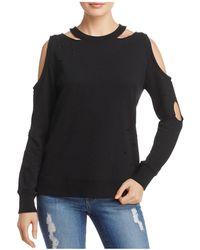 Aqua Distressed Cold-shoulder Sweatshirt - Black