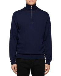 PS by Paul Smith Merino Wool Zip - Up Sweater - Blue