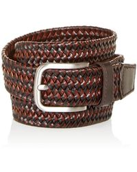 Bloomingdale's Men's Woven Stretch Leather Belt - Brown