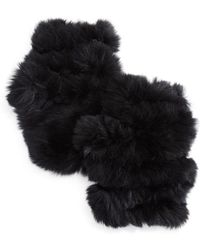 Jocelyn Plucked Rabbit Fur Fingerless Mittens - Black