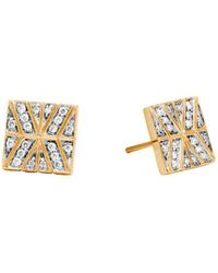 John Hardy - 18k Yellow Gold Modern Chain Stud Earrings With Diamonds - Lyst