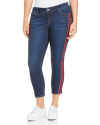 Slink Jeans Plus Stripe Ankle Jeans In Camila - Blue