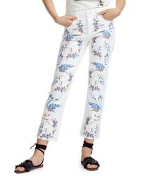 Maje Pia Cropped Floral - Embroidered Straight - Leg Jeans In Multicolour - Blue