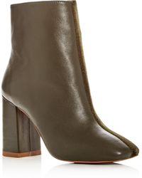 Jaggar - Women's Velvet & Leather Block Heel Booties - Lyst