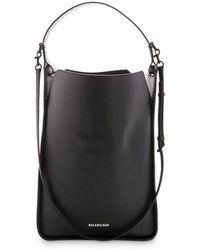 Balenciaga Medium North South 2.0 Leather Hobo - Black