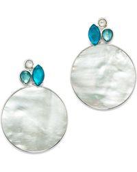 Ippolita - Sterling Silver Wonderland Mother-of-pearl & Clear Quartz Doublet Cluster & Round Drop Earrings In Bermuda - Lyst
