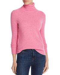 Aqua Cashmere Cashmere Turtleneck Sweater - Pink