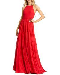 Mac Duggal High Neck Long Dress - Red