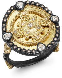 Armenta - 18k Yellow Gold & Blackened Sterling Silver Old World Diamond & White Sapphire Heraldry Ring - Lyst