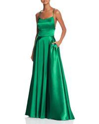 Aqua Satin Cross - Back Gown - Green