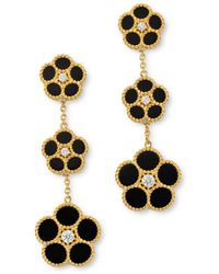Roberto Coin - 18k Yellow Gold Daisy Diamond & Black Onyx Drop Earrings - Lyst