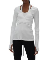 Helmut Lang Ribbed Wrap Top - White