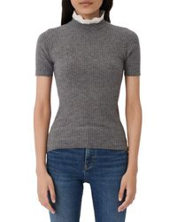 Maje Mouthy Short - Sleeved Rib Knit Jumper With Lace Collar - Grey