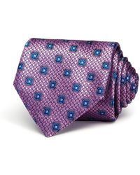 Canali Textured Square Florette Classic Tie - Pink