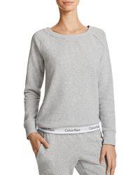 Calvin Klein Modern Cotton Crewneck Lounge Sweatshirt - Grey